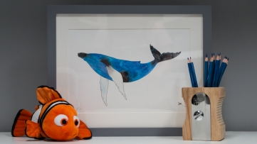 Whale A4 art print
