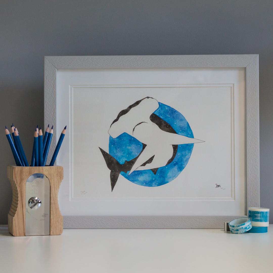 Hammerhead print framed