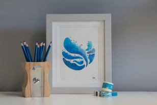 Blue Planet print in frame