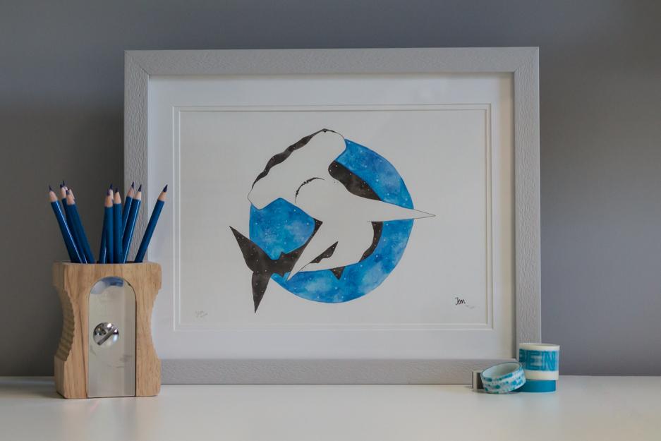 Hammerhead print in frame
