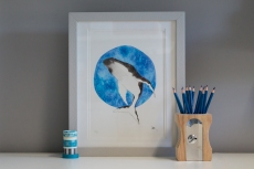 Humpback art print in frame