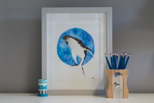 Humpback art print in frame