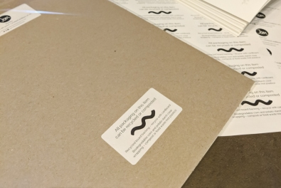 Close up of biodegradable wrapping on prints