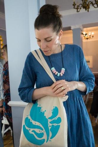 Blue Planet screen-printed tote bag, modelled by Rae (Yay Rae Flay)