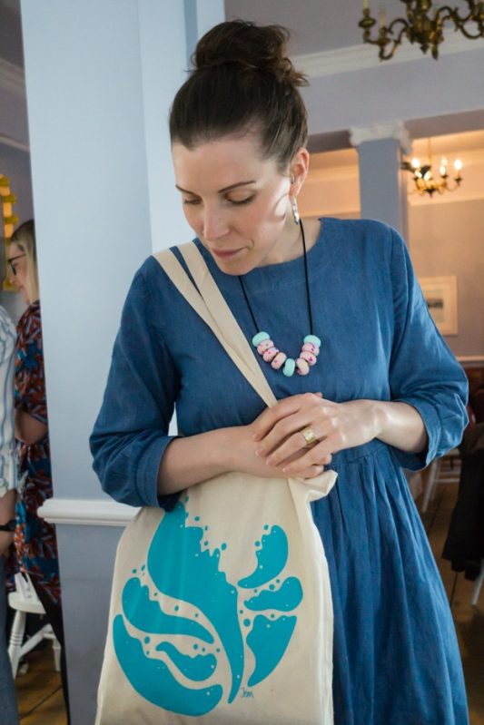 Blue Planet screen-printed tote bag, modelled by Rae (Yay Rae Flay)