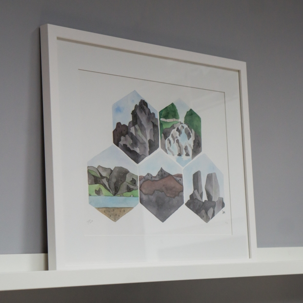 North Wales Rocks print (A3, framed)