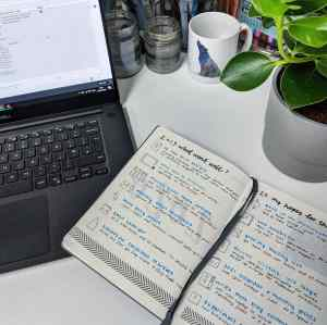 Photo of my review of 2019 and plans for 2020 jotted down in my bullet journal, showing the journal on my desk with Gerald my houseplant just in shot.