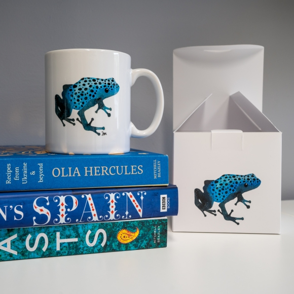 Photograph of my Blue Poison Dart Frog mug and gift box