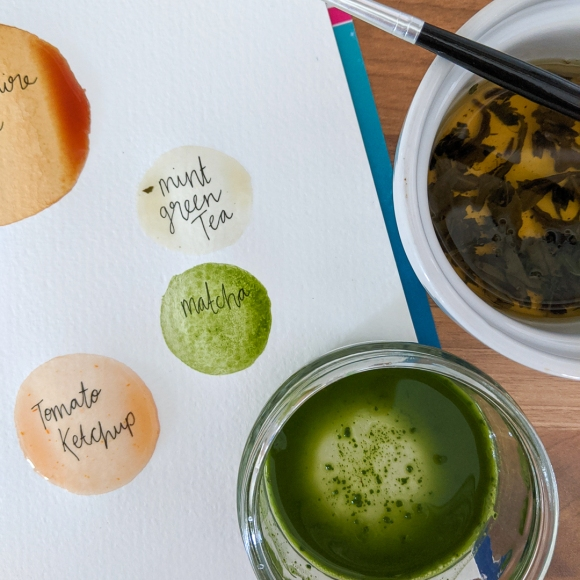 Photo showing the results of my mint green tea, matcha and tomato ketchup food paints
