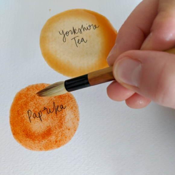 Photo of my hand painting using paprika food 'paint'