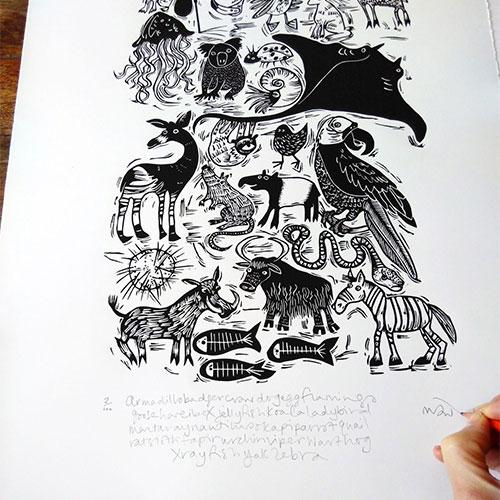 Animal A-Z alphabet lino print by Melanie Wickham