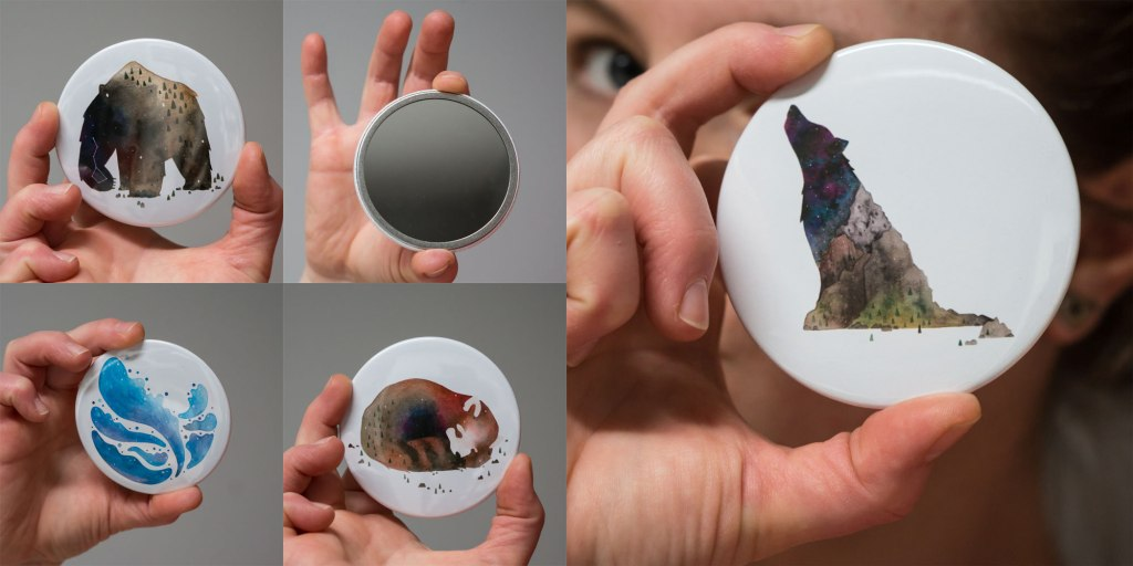 Pocket mirrors by Jem Loves to Draw