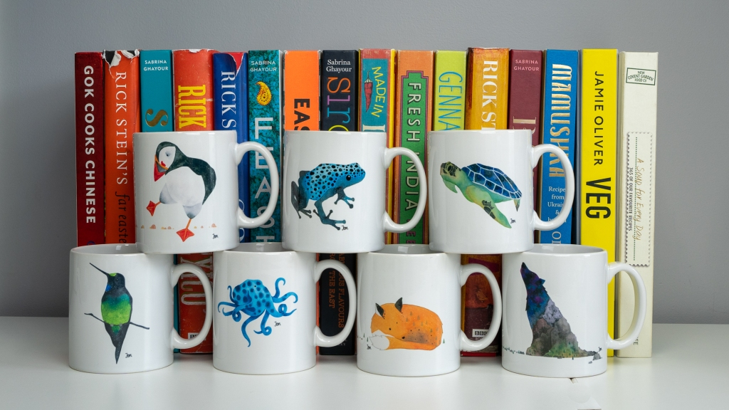 Awesome animal mugs by Jem Loves to Draw