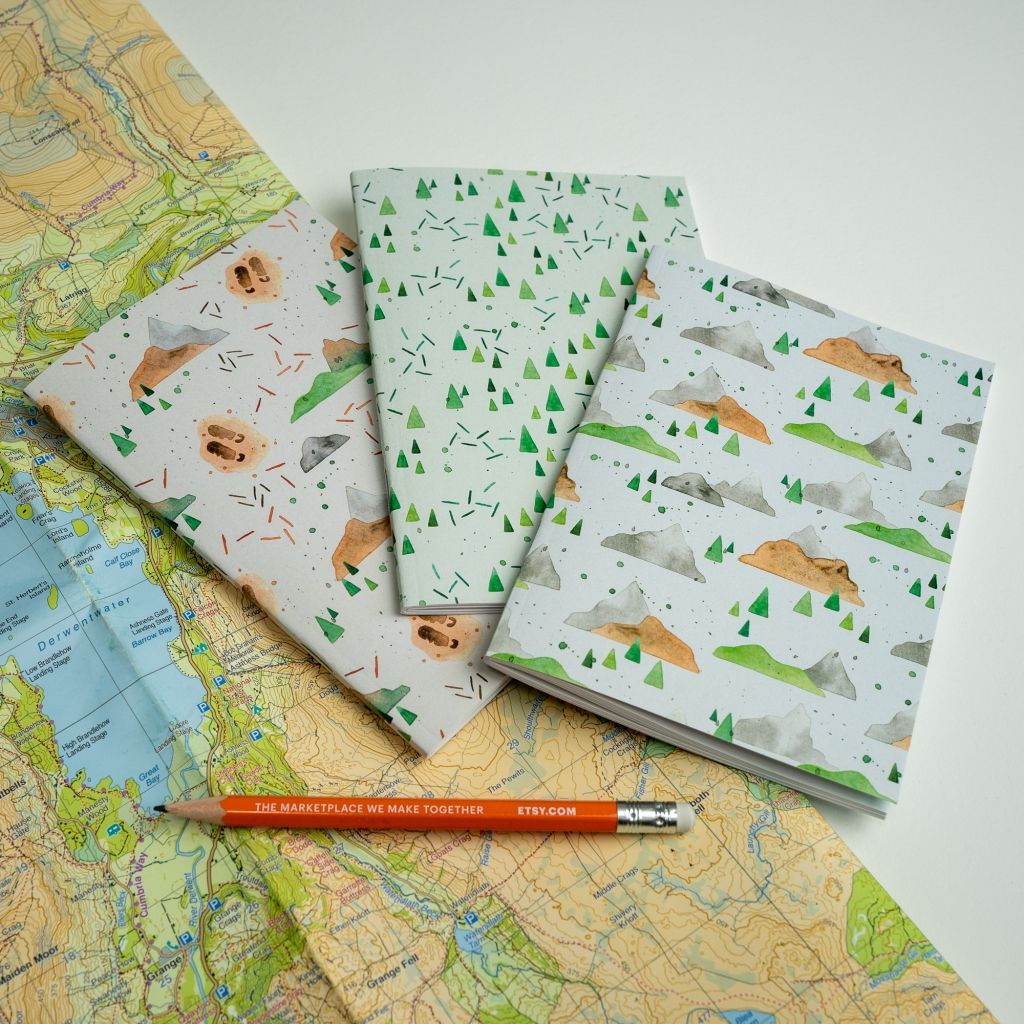 Set of three adventure-themed notebooks by Jem Loves to Draw