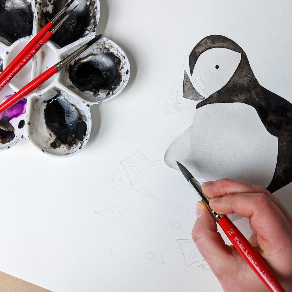 Work in progress snapshot of Jem's puffin dance painting