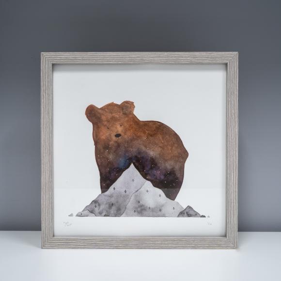 Mountain bear art print in frame