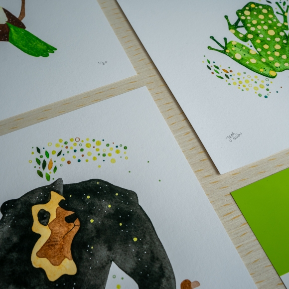 Close up of the hand painted leaf details on prints from the Earth collection by Jem Loves to Draw