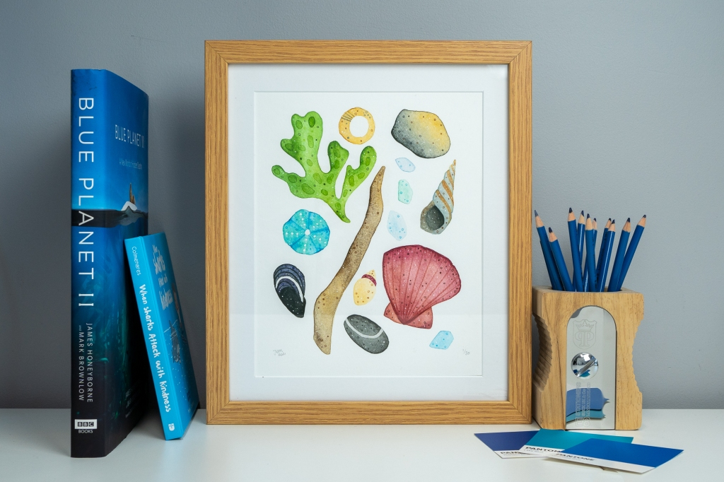 Coastline souvenirs art print by Jem Loves to Draw, featuring watercolour seashells, seaweed and driftwood.