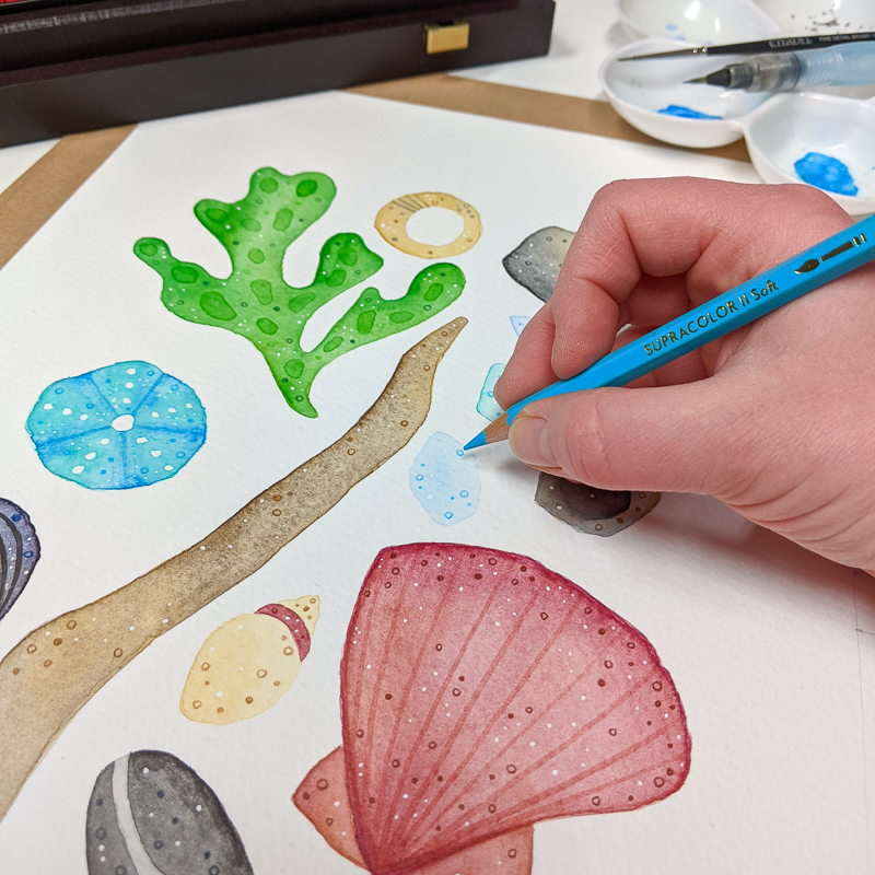 Jem carefully hand drawing the details on the Coastline Souvenirs design using coloured pencils